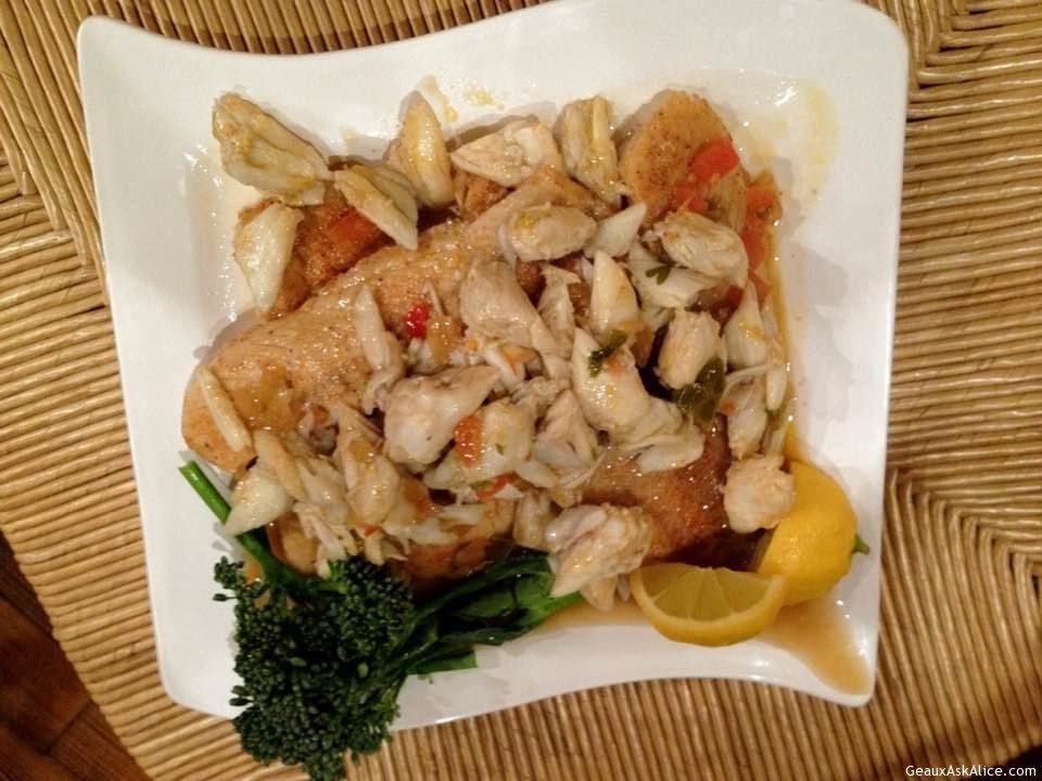 Grilled Bass With Crabmeat Sauté