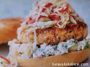 Pan Sautéed Salmon Burgers with Cabbage Slaw
