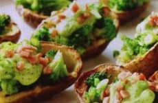 Broccoli with Avocado Cream Stuffed Potato Skins