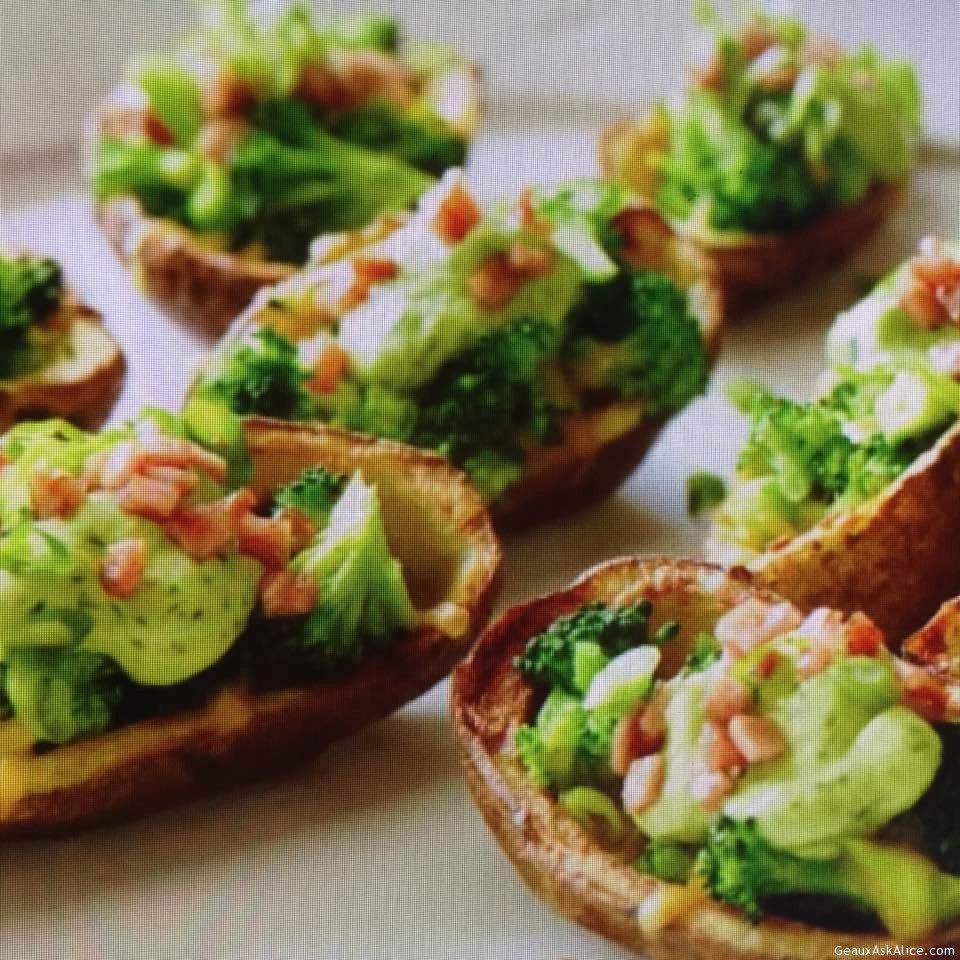 Broccoli With Avocado Cream Stuffed Potato Skins