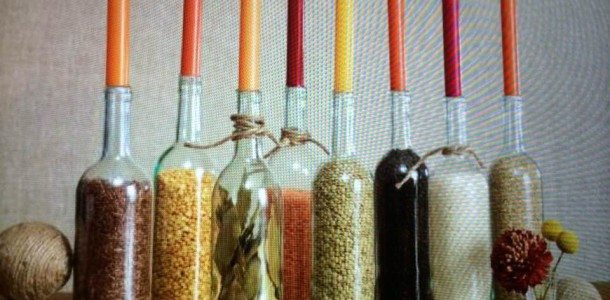 Cute way to use those leftover wine bottles!