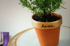 Great way to assign table seating or a nice little sussie that your guests can take home! Put any herb you like in the mini pot!