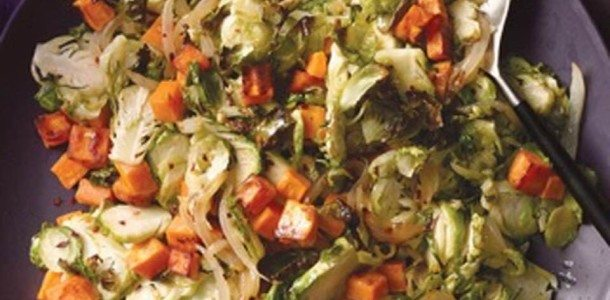 Savory Yam and Brussels Sprout Salad