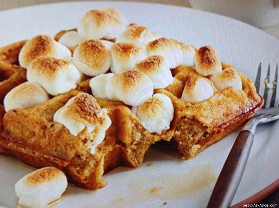 Sweet Potato And Marshmallow Waffles