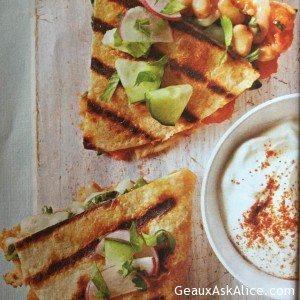 Yam Quesadillas with a Creamy Cucumber Relish
