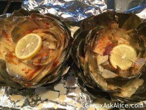 Alice's Lemony-Cheesy Steamed Artichokes2