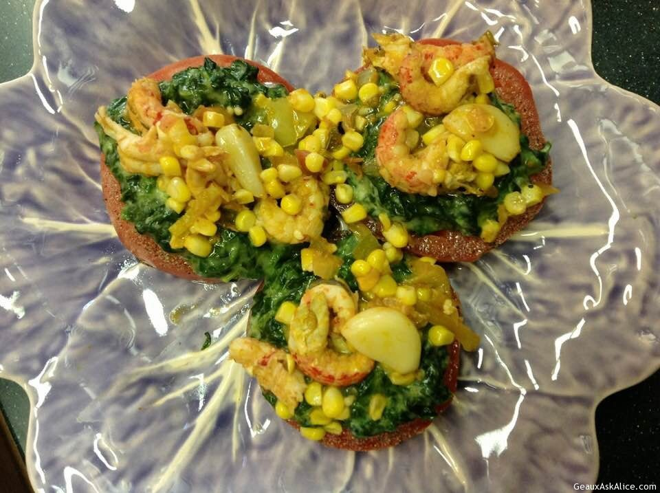 Broiled Tomato Slices Topped With Creamed Spinach, Corn And Crawfish