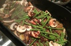 FABULOUS SKILLET LAMB CHOPS WITH PEARL ONIONS, GREEN BEANS AND MUSHROOMS
