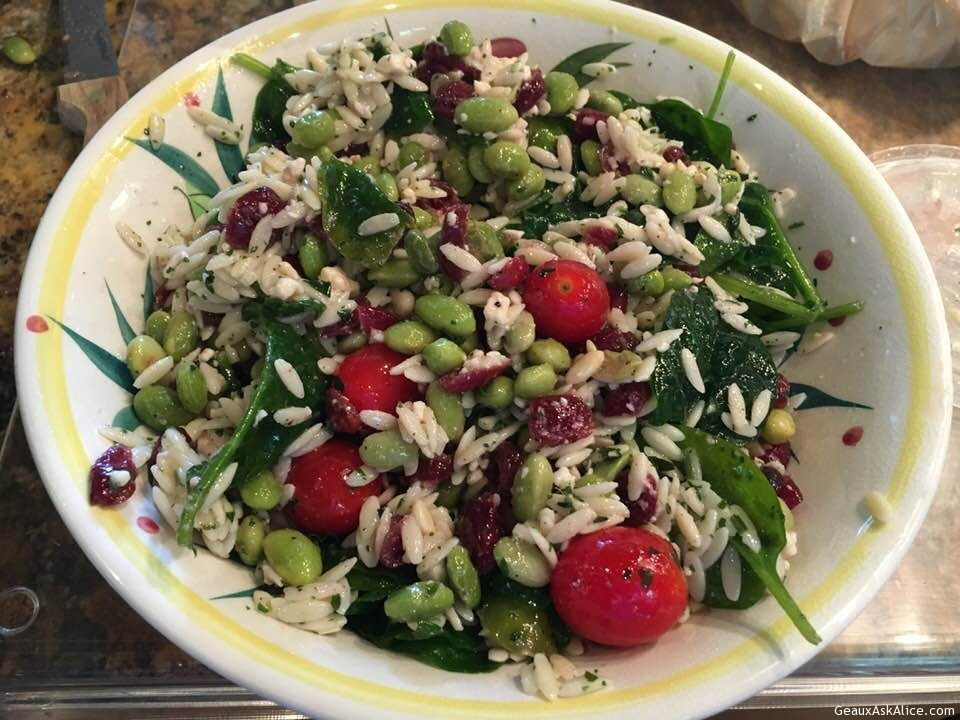 Lemony Edamame, Baby Spinach, Dried Cranberries And Feta Orzo Salad