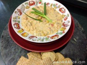Alice's Crawfish, Corn and Tomato Bisque