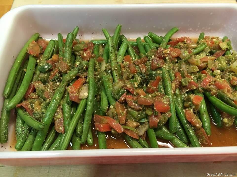 Basil Pesto Roasted Green Beans