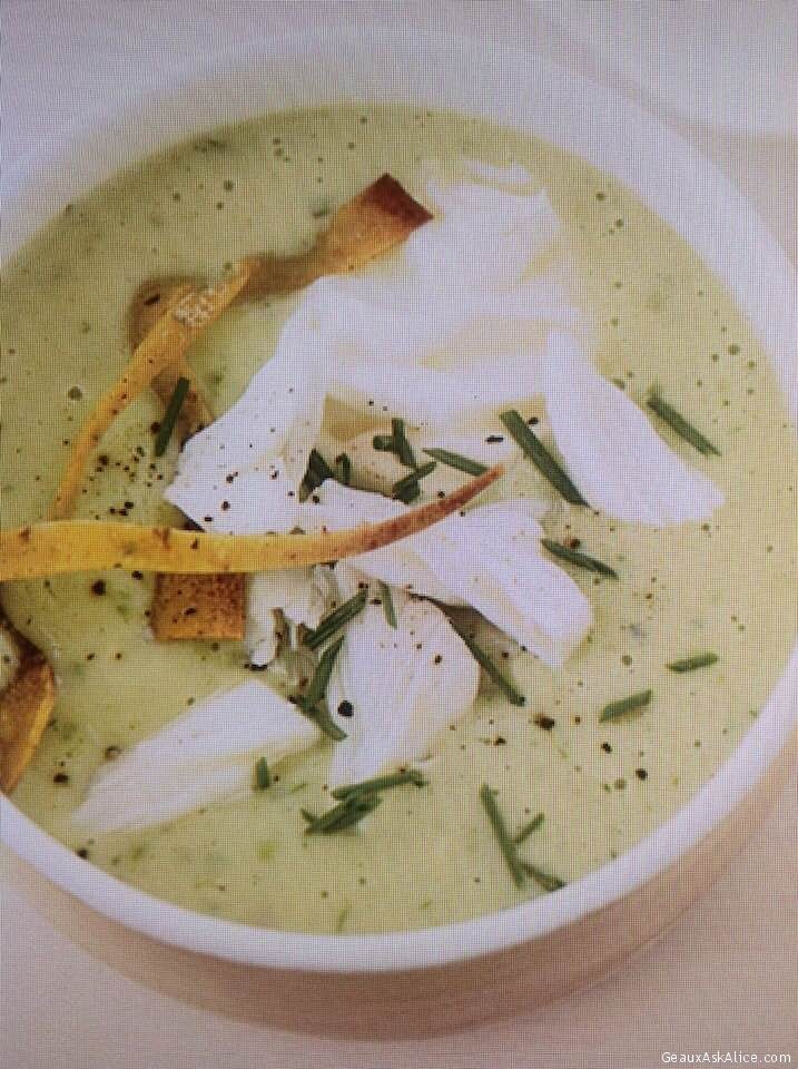 Chicken-Avocado Soup Topped With Crabmeat