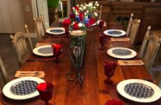 Table Set With Red, White And Blue Centerpiece And Place Settings.