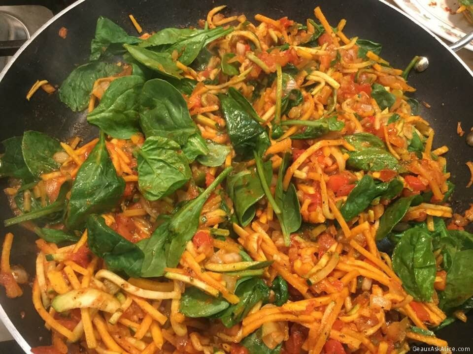 Wonderful Spiralized Butternut Squash And Zucchini Zoodles With Spinach