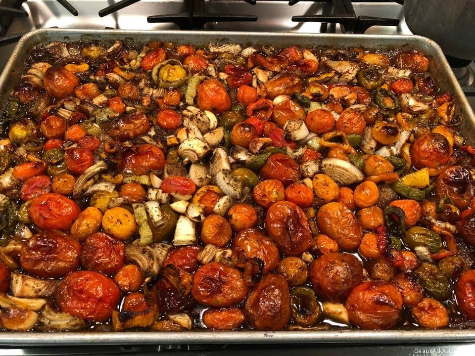 Roasted A Big Pan Of Garden Veggies. Freeze To Use Later To Mix With Pasta Etc.