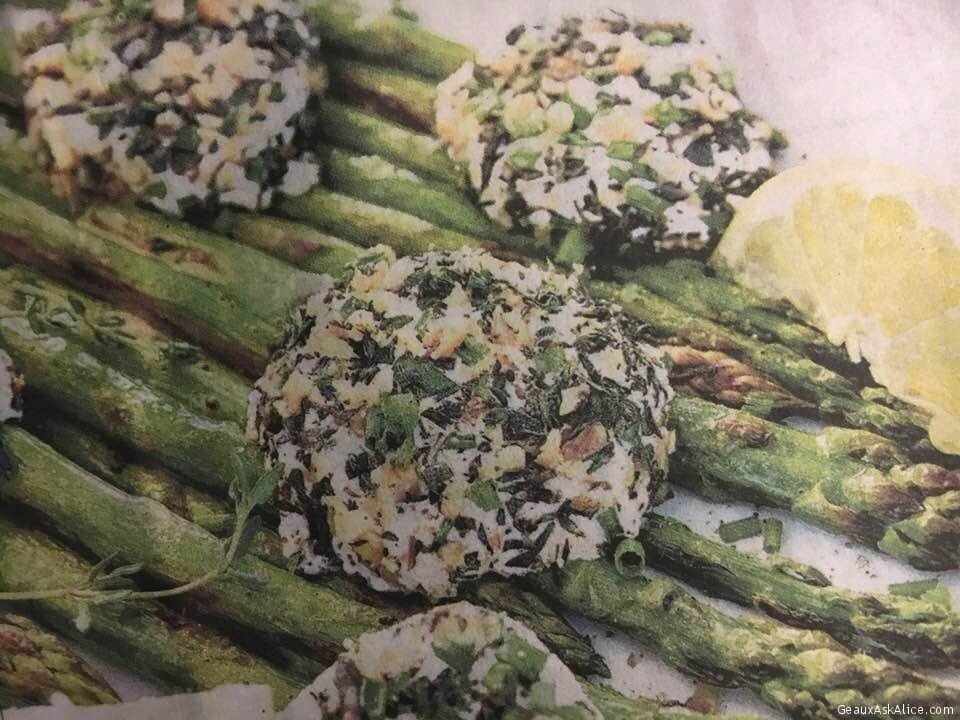 Lemony-Roasted Asparagus Topped With Baked Goat Cheese