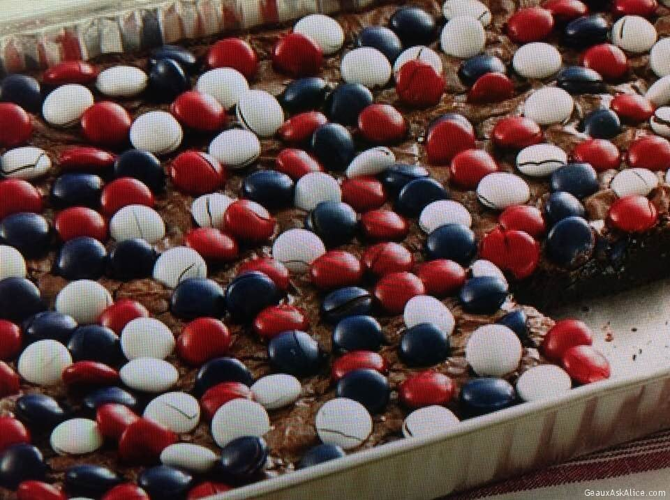 Red, White And Blue Topped Brownies