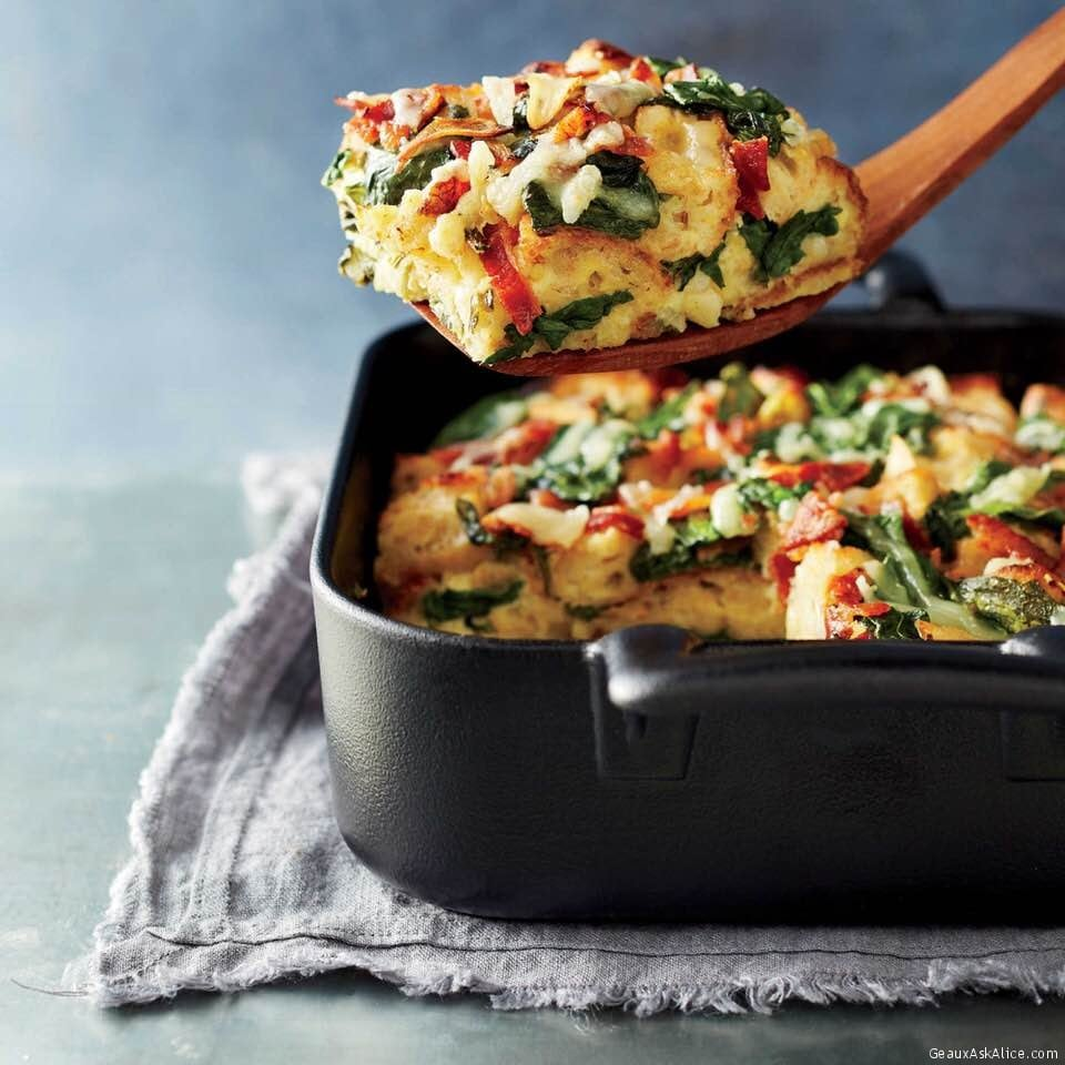 Crispy And Creamy Spinach, Bacon And Gruyere Breakfast Strata