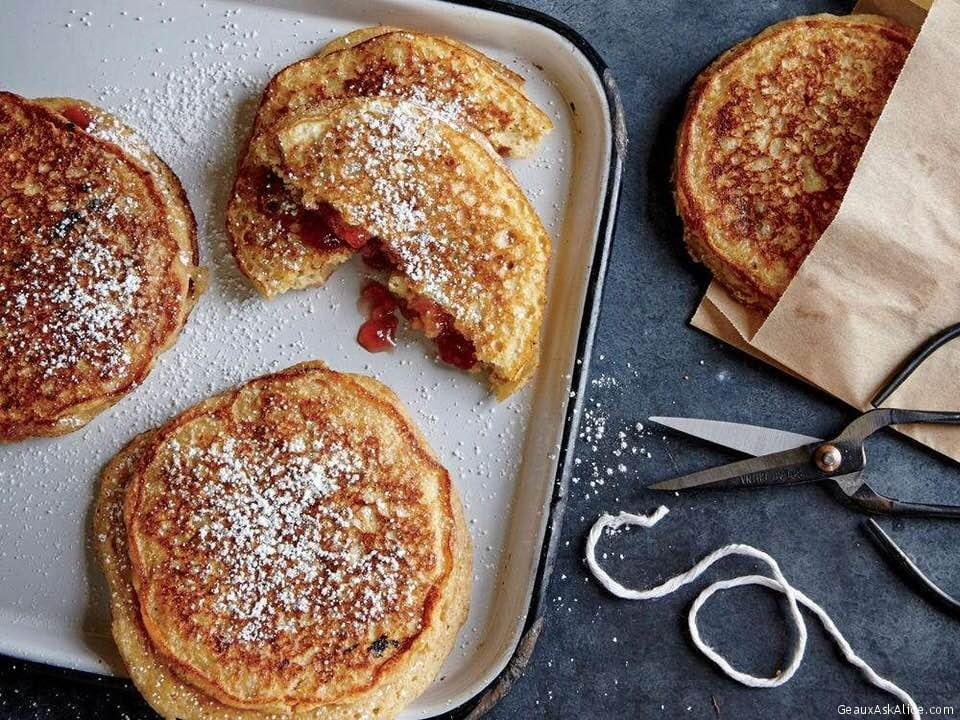Multi-Grain Pancakes Stuffed With Peanut Butter And Jelly