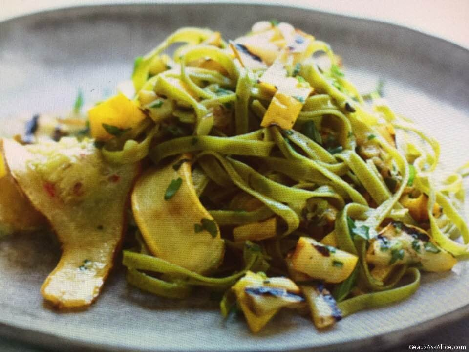 Summer's Tangy Grilled Squash With Spinach Fettuccine