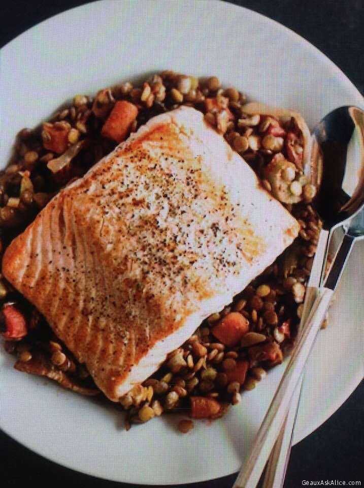 Roasted Savory Salmon With Lentils