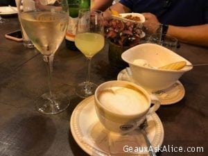 Walked to a piazza and had our nightcaps. Gelato, Cappuccino, Limoncello and Prosecco! Oh yes gonna sleep well. Buona Notte !!!!