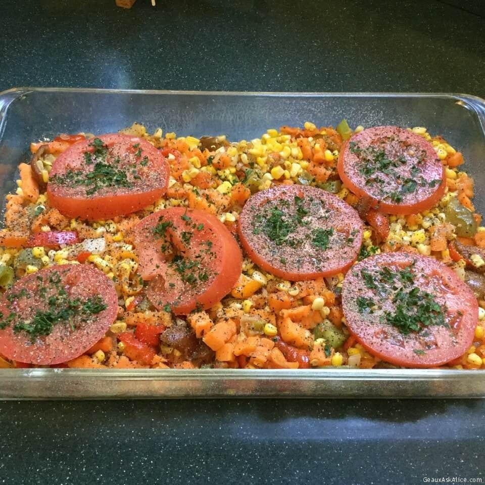Baked Yam, Corn, Pepper, Tomato Casserole