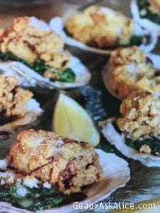 Crispy-Fried Oysters over Creamed Spinach