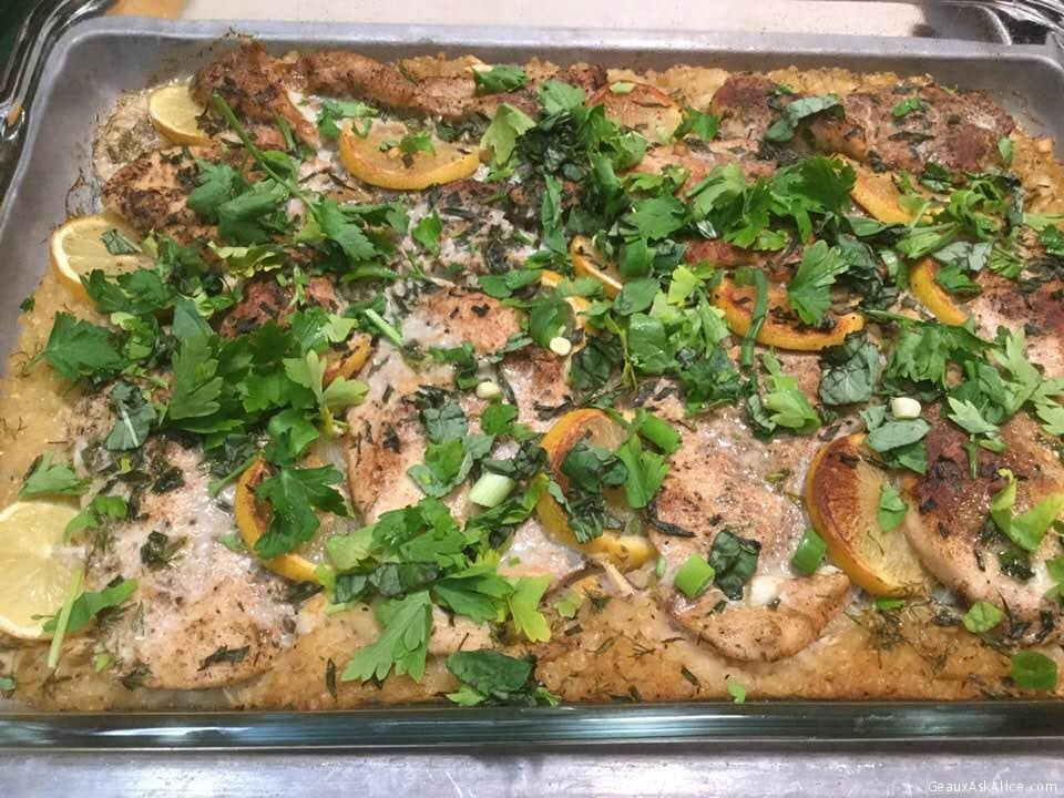 Easy Greek Lemony Baked Chicken And Orzo Dish