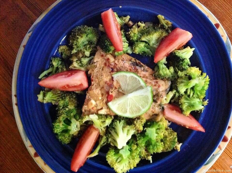 Sweet-Chile Skillet Salmon With Broccoli