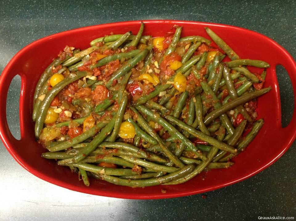 Lemony Haricots Verts With Grape Tomato Relish
