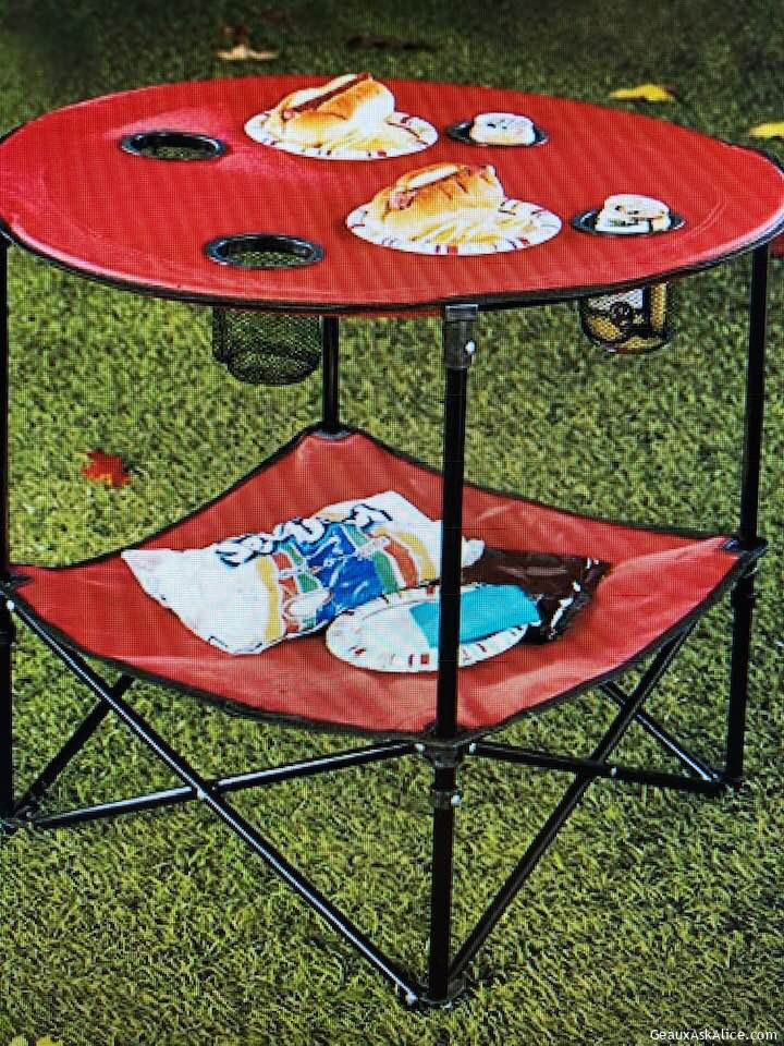 Today's Gadget Is The Folding Picnic Table With A Shelf!