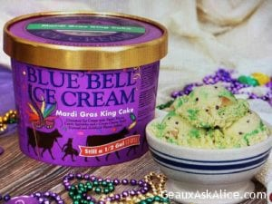 Today's Product is Blue Bell Mardi Gras King Cake Ice Cream! Oh Yes!