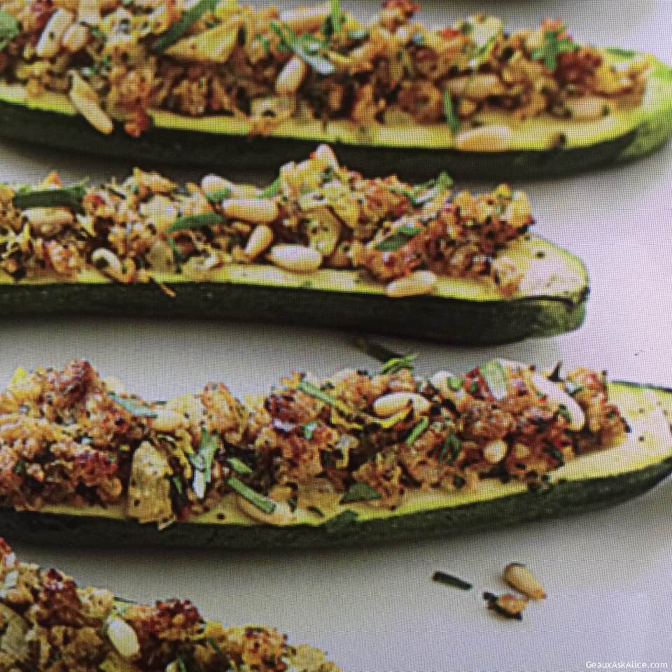 Cheesy And Nutty Stuffed Zucchini Boats