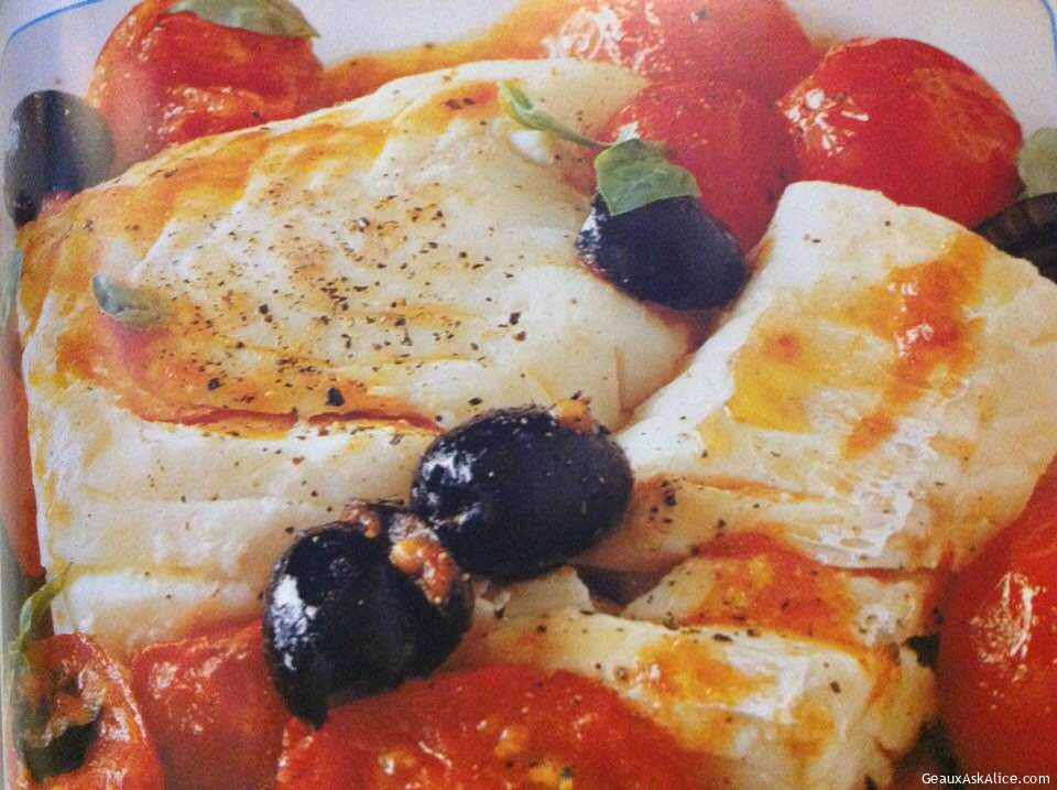 Grouper With Cherry Tomatoes And Black Olives