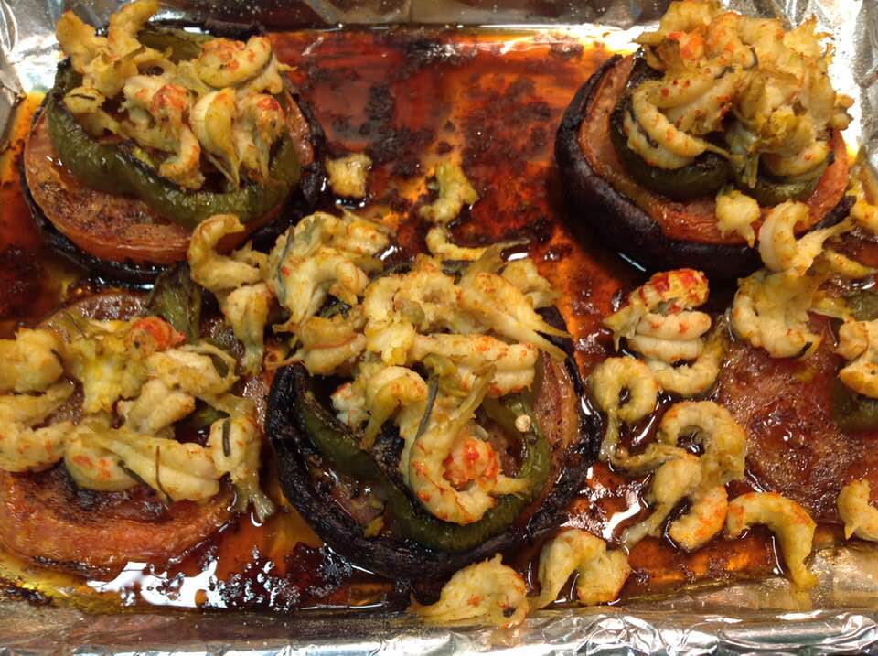 Balsamic Glazed Portabella Mushroom Caps Stuffed With Crawfish