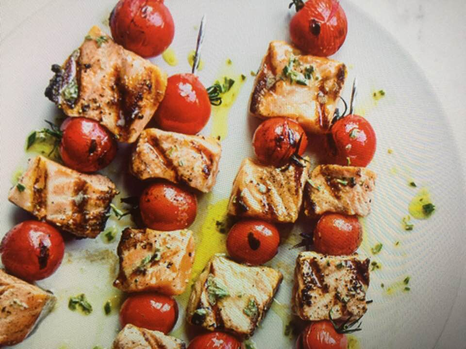 Cherry Tomato-Salmon Skewers