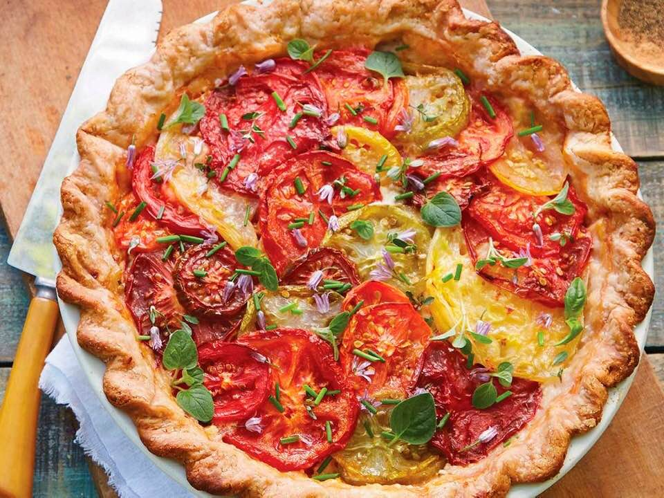 Delicious Tomato Pie With Fresh Corn And Herbs