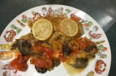 Seafood Stuffed Tilapia With Tomatoes, Peppers And Mushrooms