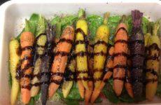 Honey-Balsamic Glazed Rainbow Mini Carrots And Snow Peas