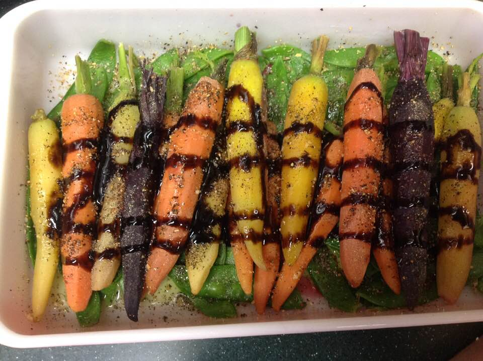 Honey-Balsamic Glazed Rainbow Mini Carrots And Snow Peas