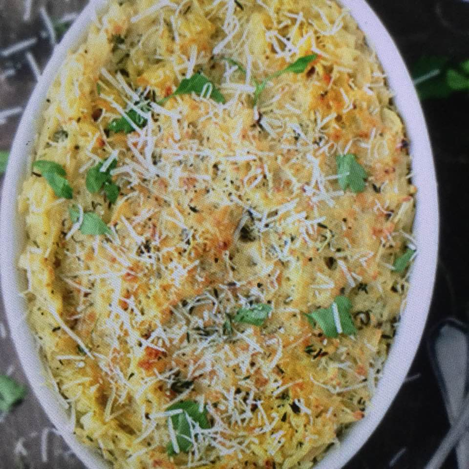 Creamy Goat Cheese Baked Orzo