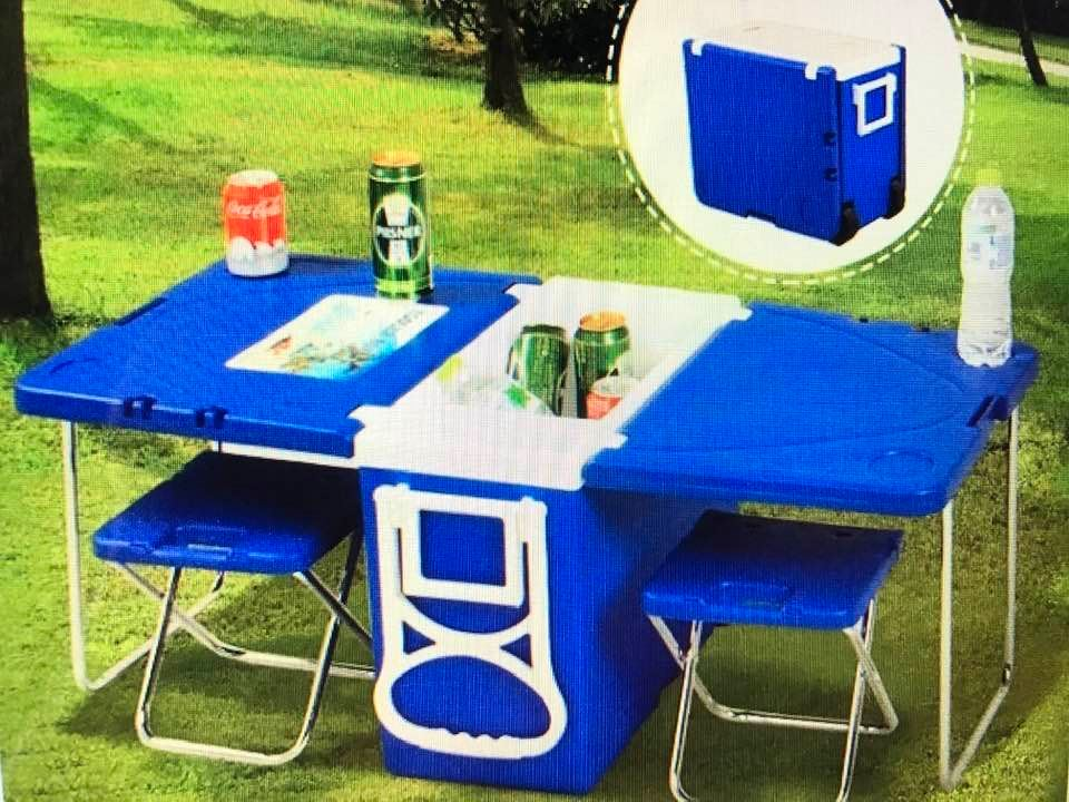 Multi-Function Rolling Cooler With Table/Two Chairs!