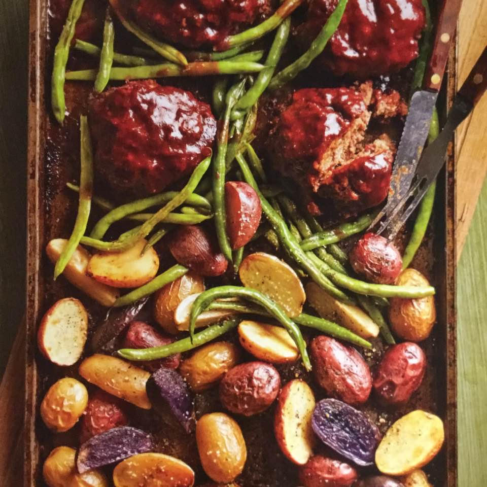 Petite Meat Loaves, Green Beans And Potatoes ( Sheet Pan Meal)