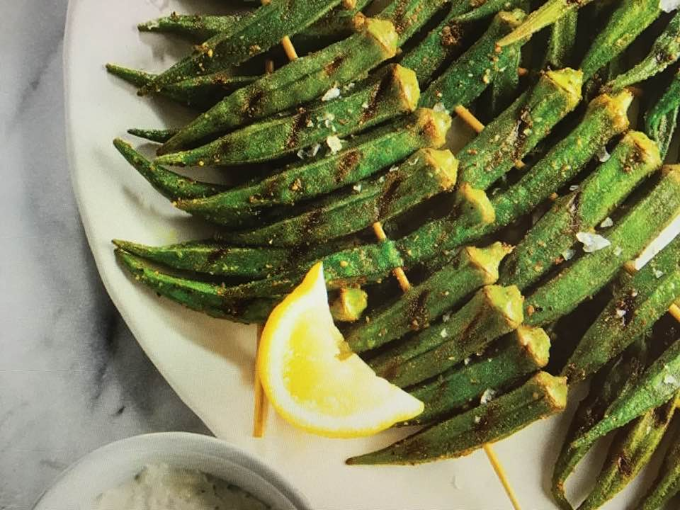 Spicy Grilled Okra With Lemon Yogurt Dipping Sauce