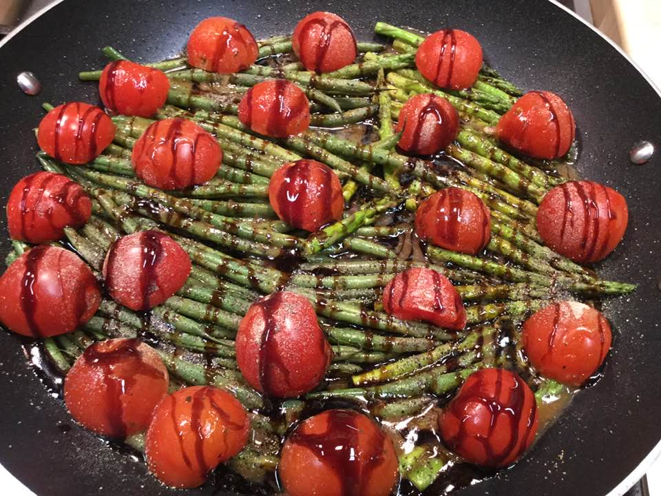 Stir-Fry Fresh Green Beans And Asparagus Tips With Balsamic Glaze Finish