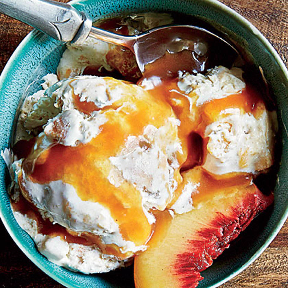 Tipsy Peach Cobbler Ice Cream With Bourbon Caramel Sauce