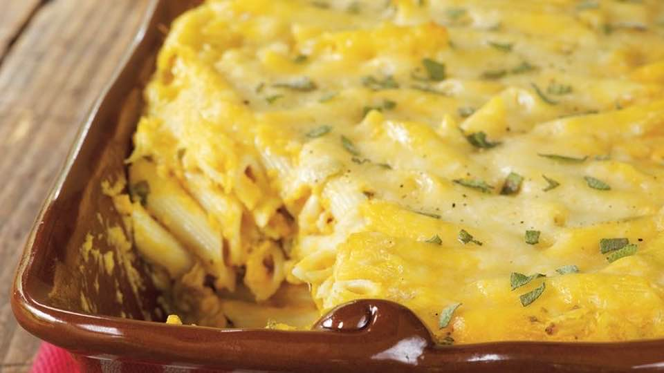 Cheesy Butternut Squash And Pasta Casserole