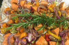 Fresh Diced Yams With Rosemary And Balsamic Glaze