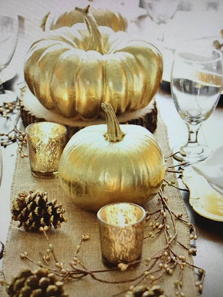 Fall Decor - Golden Pumpkins